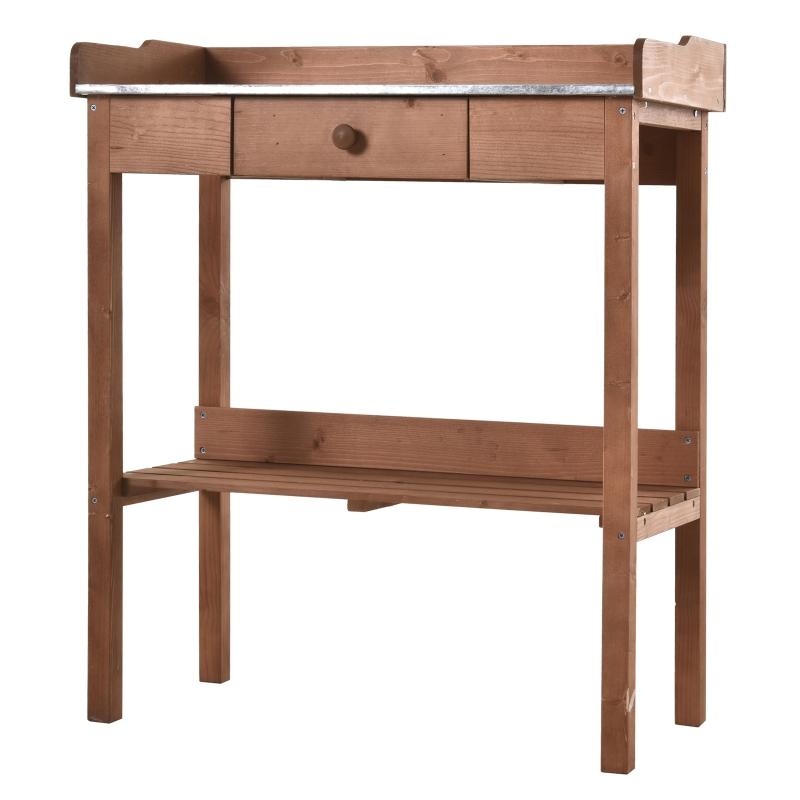 Outsunny® Stolik Ogrodniczy na Rośliny Kwietnik z Powierzchnią Roboczą Ogród Metal Lite Drewno Pomarańczowy