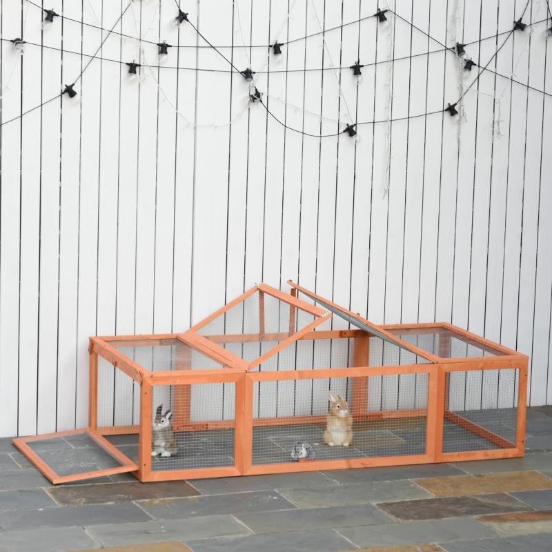 Klatka dla królika Klatka dla królików z ogrodzeniem dla zwierząt Klatka dla małych zwierząt lite drewno pomarańczowy