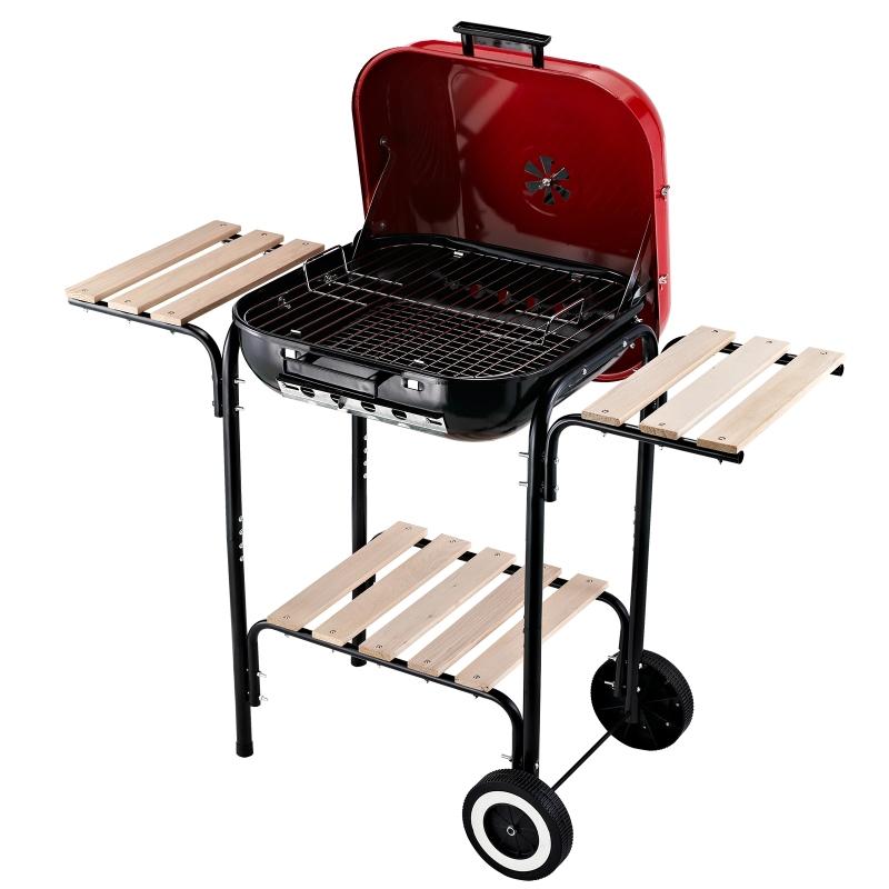 Grill węglowy stojący kółka osłona przeciwwietrzna 3 x półki metal czerwony Outsunny