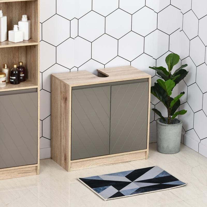 Szafka pod umywalkę szafka łazienkowa meble łazienkowe szafka umywalkowa 2-drzwiowa kolor szary+dąb