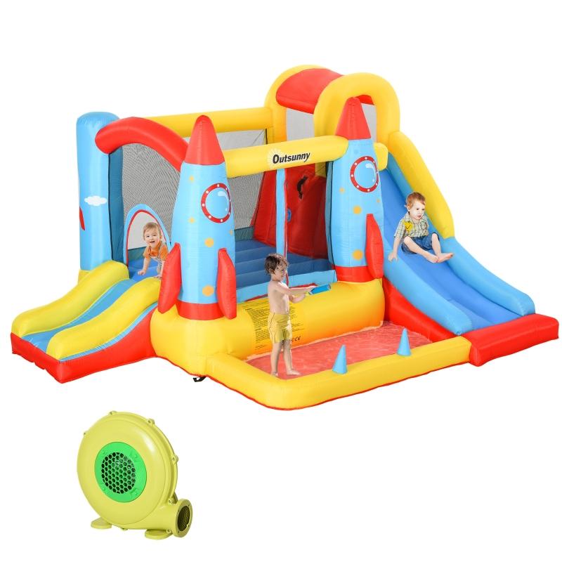 Zamek dmuchany ze zjeżdżalnią do skakania zabawy z dmuchawą dla 4 dzieci Outsunny