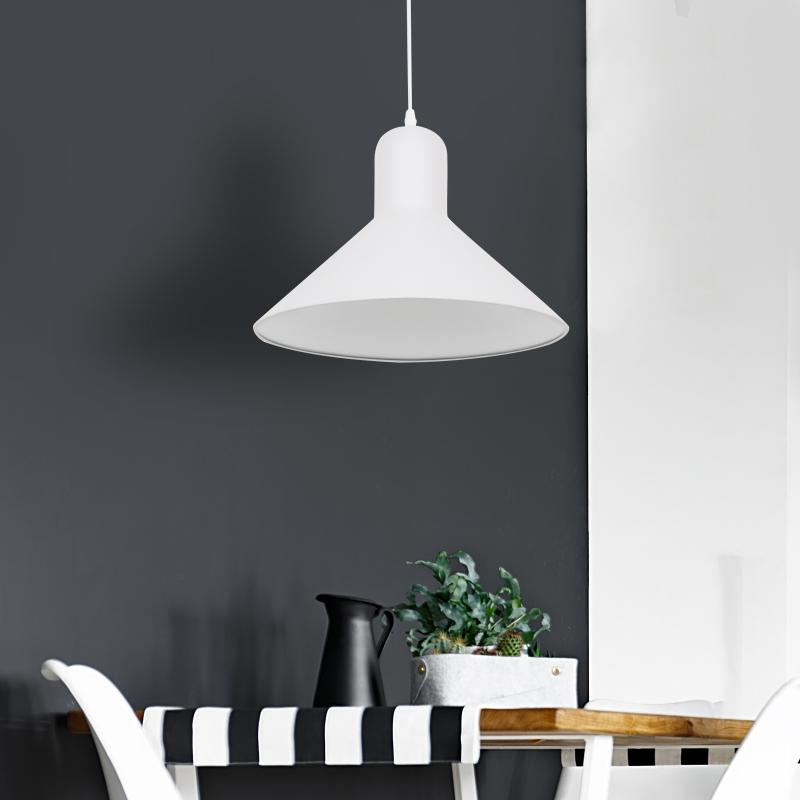HOMCOM® LAMPA SUFITOWA WISZĄCA INDUSTRIALNA KUCHENNA VINTAGE E27 40W METAL biały ∅34,5 x W28 cm (bez żarówek)