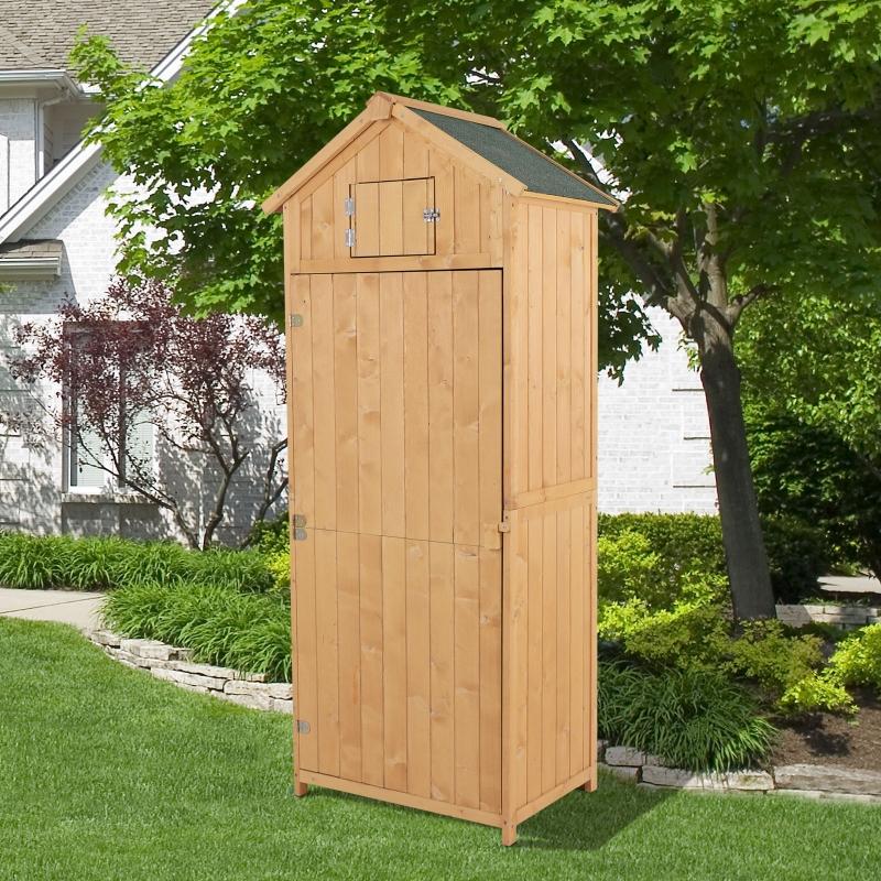 Outsunny® Domek Ogrodowy Narzędziownia Szopa z Półkami Dach Asfaltowy Okno Drewniany Naturalny 77 X 54,2 X 179 cm