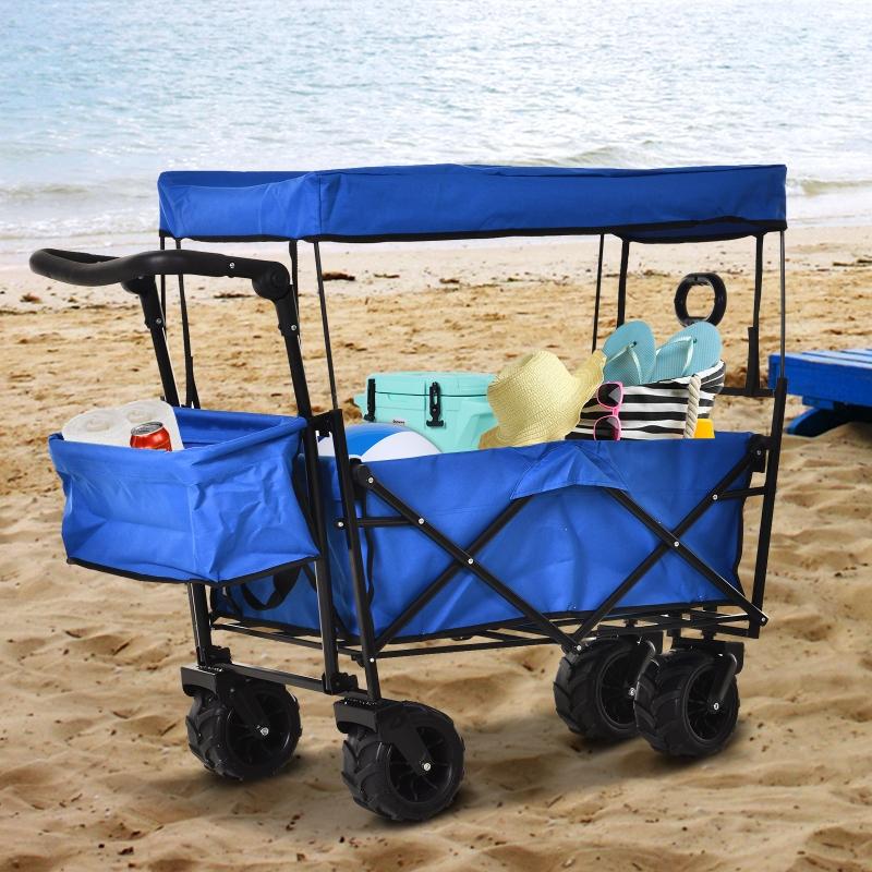 Durhand® Wózek Ręczny Ogrodowy z Daszkiem Składany Dodatkowy Schowek Oxford Niebieski