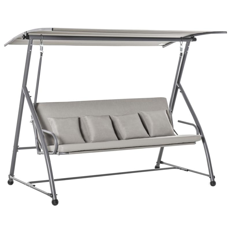 Outsunny® 3-Sitzer Hollywoodschaukel Schaukelstuhl 2-in-1 Gartenliege mit Sonnendach Stahl