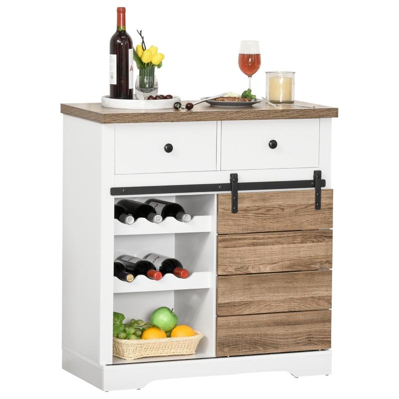 Szafka kuchenna kredens z 2 szufladami półkami na wino drzwiami przesuwnymi w stylu rustykalnym
