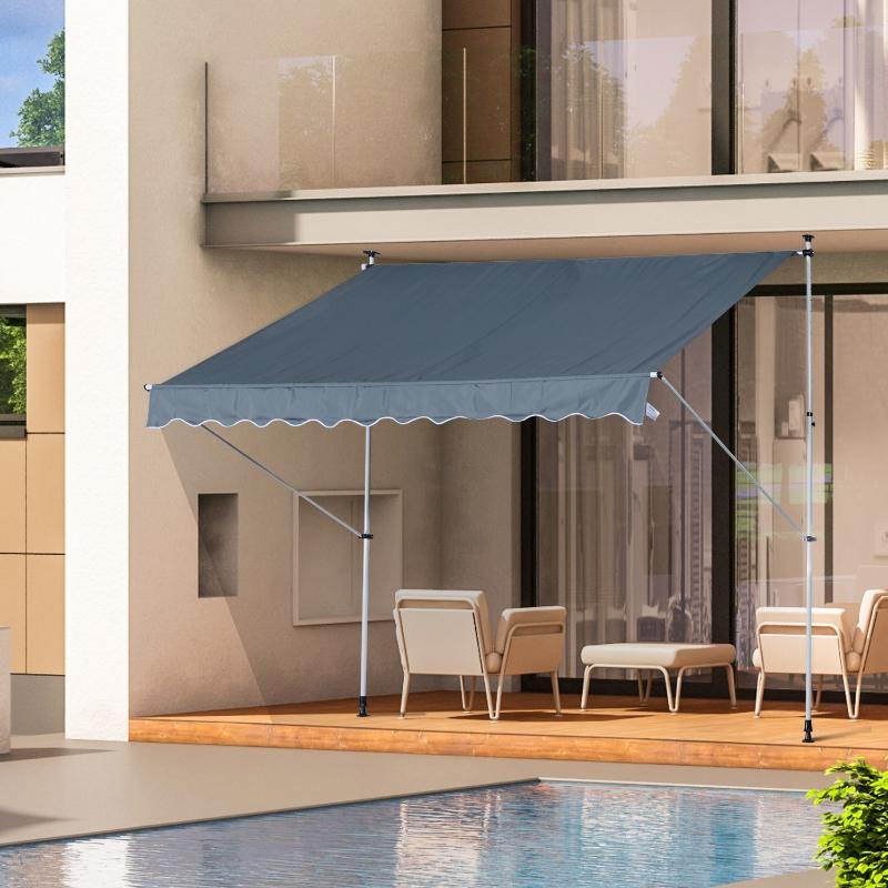 Markiza ze składanym ramieniem markiza zaciskowa osłona przeciwsłoneczna korbka ręczna balkon aluminium 3x1,5 m szary