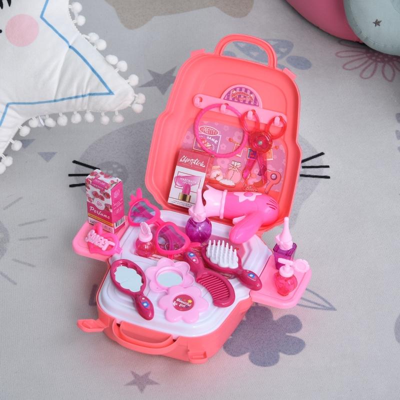 Dziecięca toaletka zabawka dla księżniczek kuferek fryzjerski do zabawy w odgrywanie ról 3-9 lat