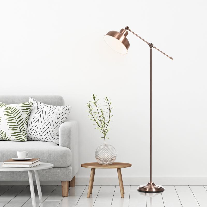 Lampa podłogowa Industrialna lampa stojąca z regulowanym kloszem E27 metal czerwony brąz