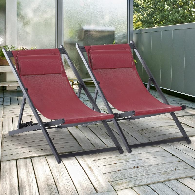 Outsunny® Leżak Składany 2-częściowy Zestaw Składanych Krzeseł Ogrodowych Kempingowych Aluminium Bordowy