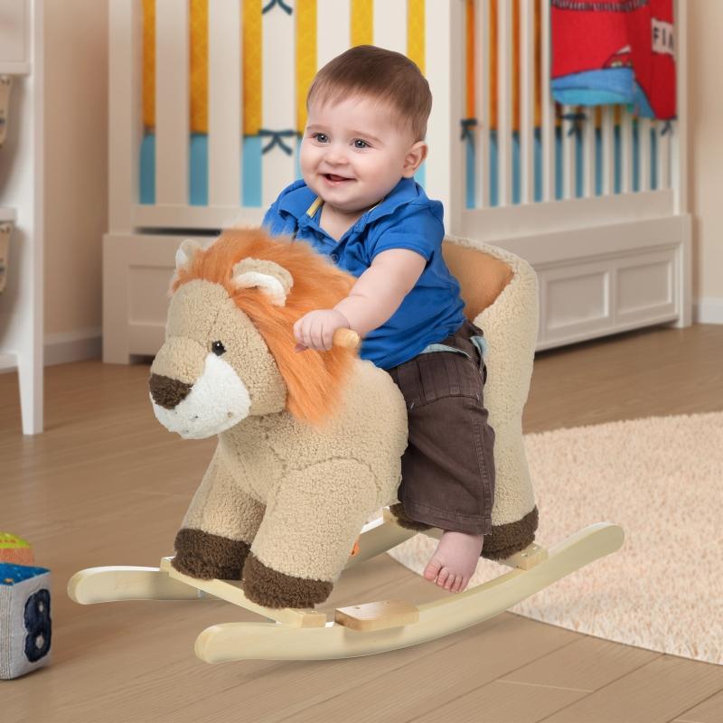 Koń na biegunach dla dzieci Zwierzę na biegunach Lew z odgłosem lwa dla dzieci w wieku 18-36 miesięcy brązowy