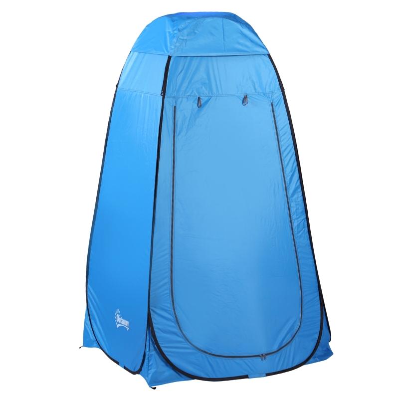 Namiot toaleta prysznic przebieralnia pop-up na kemping wewnętrzna kieszeń poliester niebieski Outsunny