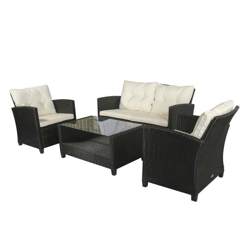 Technorattan komplet wypoczynkowy 4-częściowy Zestaw mebli ogrodowych, komplet stolik z krzesłami, metal, czarny