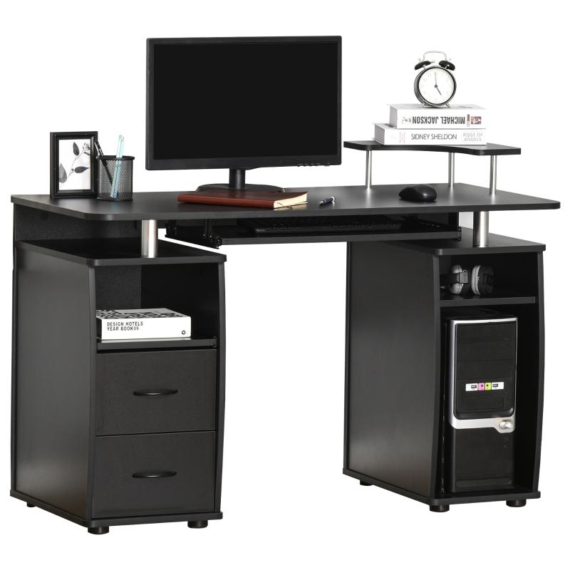 Biurko komputerowe, biurko z szufladami, biuro domowe, gabinet, miejsce do przechowywania, czarne
