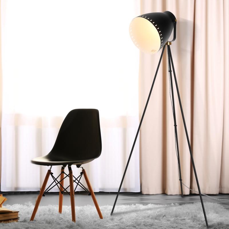 HOMCOM® Lampa Stojąca Gwint E27 Regulowana 120° Metal Czarna 60 X 60 X 145 cm