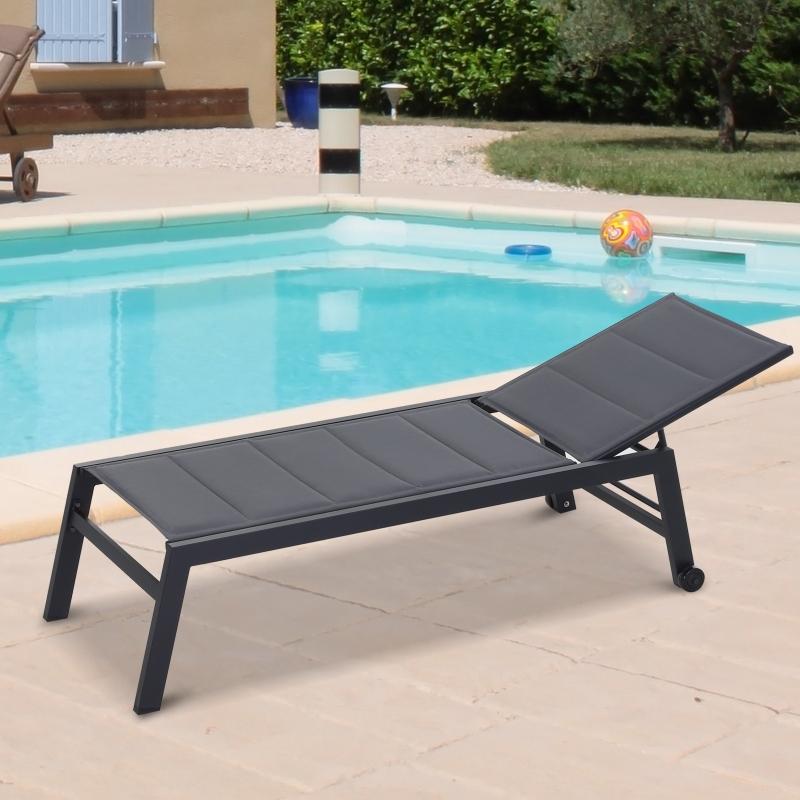 Leżak ogrodowy leżak Relax Lounger 5-Step Backrest Meble ogrodowe Alu Czarny Outsunny®