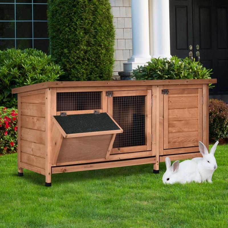 Klatka dla królika z asfaltowym dachem Klatka dla królików z karmidłem lite drewno naturalny zielony