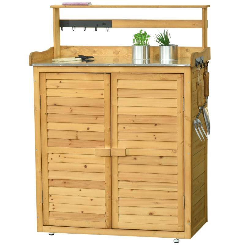 Outsunny® Gartenschrank Geräteschrank 3 Fächern Arbeitsfläche Massivholz Braun
