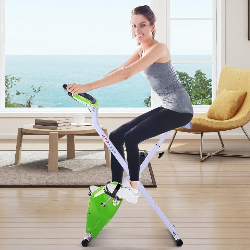 Rower treningowy z monitorem LCD Rower fitness regulowany składany stalowy zielony