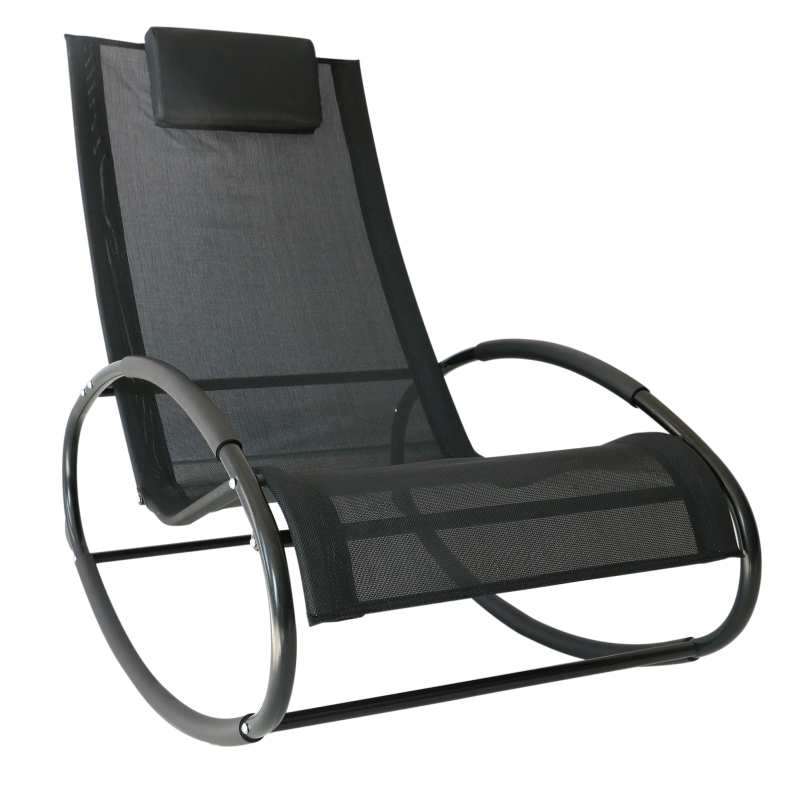 Fotel bujany leżak ogrodowy z zagłówkiem czarny do 120 kg 105 x 62 x 88 cm Outsunny