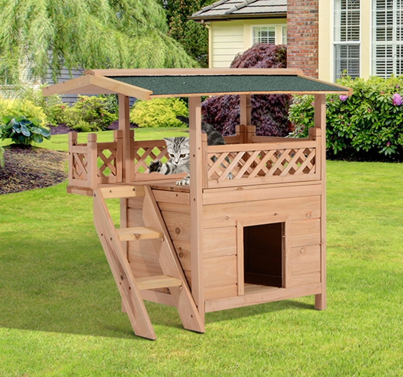 Domek dla kota 2-kondygnacyjny Domek dla kota Willa dla kota asfaltowy dach balkon lite drewno naturalny