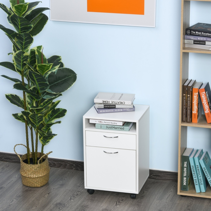 Kontener na kółkach szafka na akta kontener biurowy z szufladą szafa biurowa biały