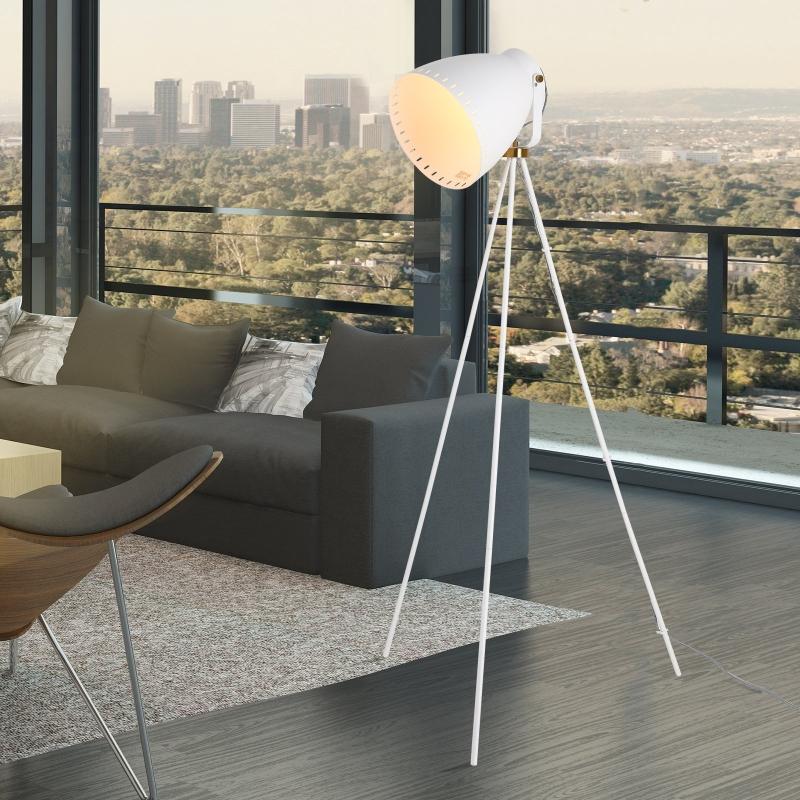 HOMCOM® Lampa Podłogowa Stojąca Gwint E27 Regulowana 120° Metal Biała 60 X 60 X 145 cm