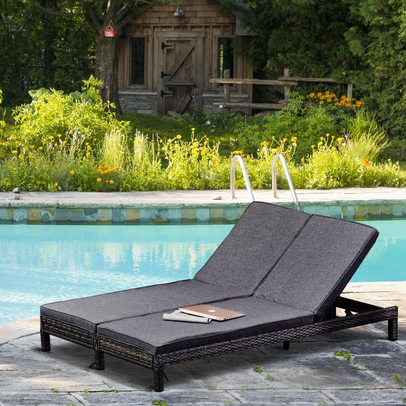 Leżak ogrodowy, podwójny leżak, leżak wypoczynkowy dla 2 osób, 5-stopniowa regulacja oparcia, metal, rattan z PE, szary