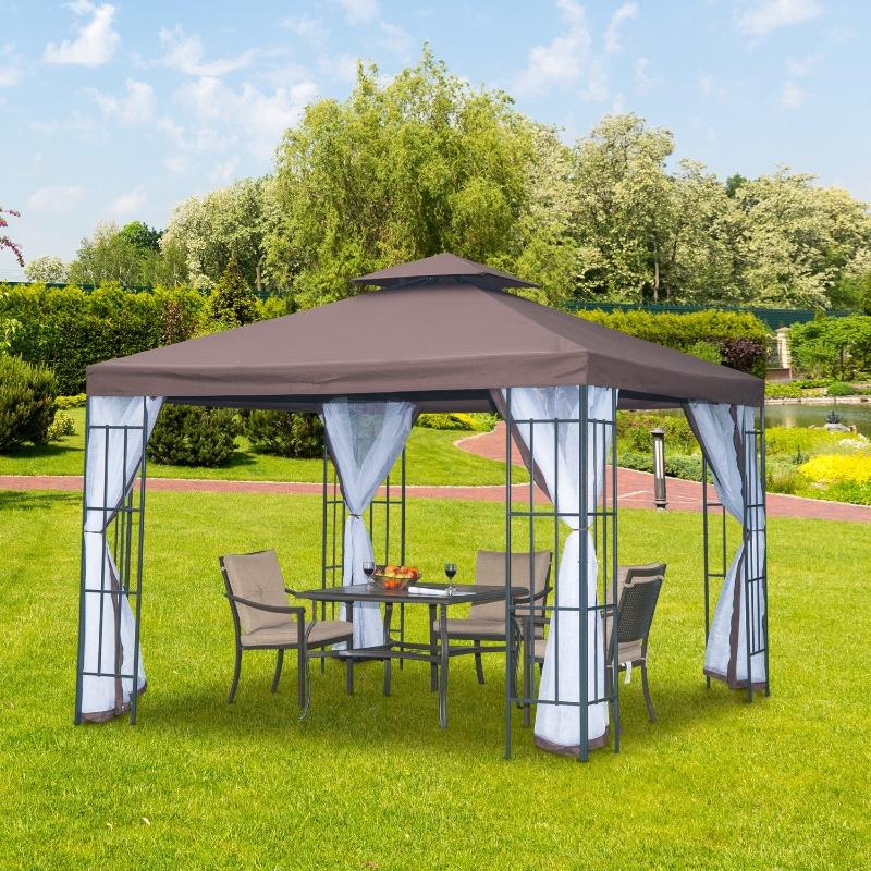 pawilon ogrodowy namiot imprezowy pawilon ogrodowy namiot ogrodowy podwójny daszek 3x3 m brązowy