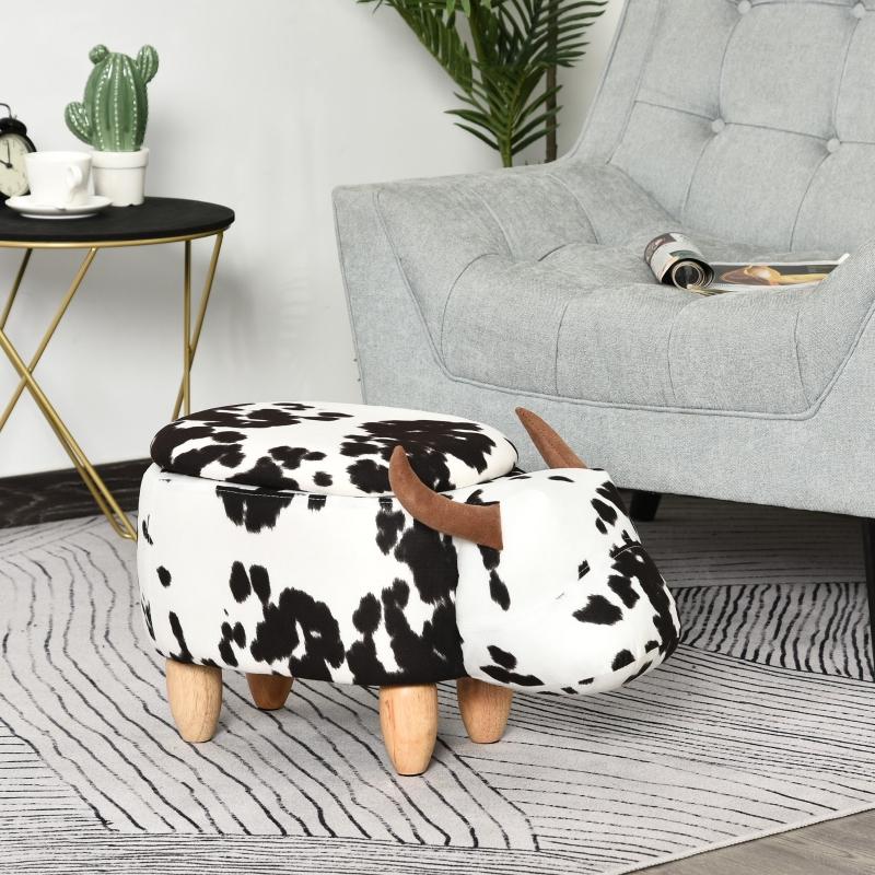 Taboret zwierzątko ozdobna pufa ze schowkiem stołek krowa czarny + biały