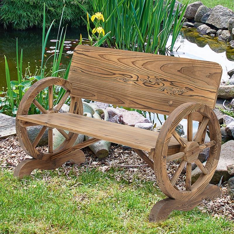 Ławka ogrodowa ławeczka ogrodowa podłokietnik koło od wozu designerska lite drewno brązowa