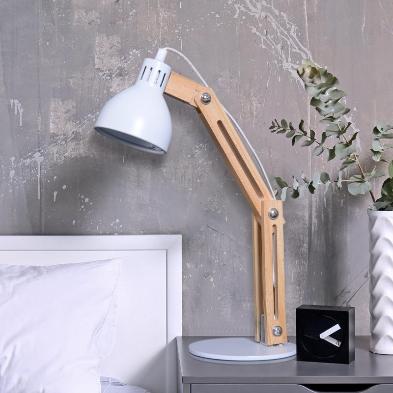 HOMCOM® LAMPKA STOŁOWA NA BIURKO REGULOWANA LAMPKA DO CZYTANIA metal + drewno
