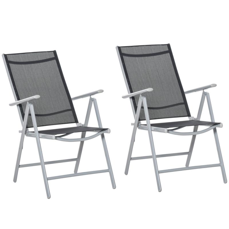 Zestaw 2 sztuk krzesła ogrodowe krzesło składane z podłokietnikami regulacja wysokości oparcia
