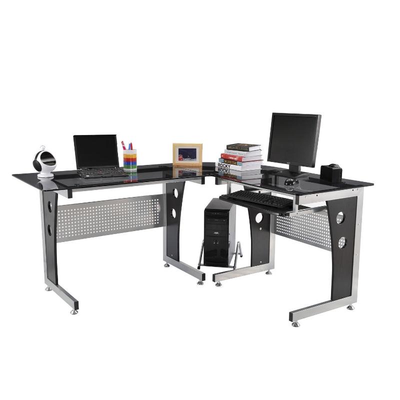 Biurko komputerowe, biurko narożne, biurko na komputer stacjonarny, biurko z blatem z bezpiecznego szkła