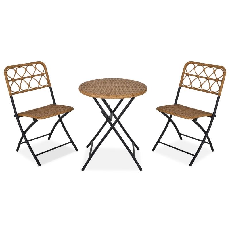 Stolik z krzesłami zestaw kawiarniany balkonowy składany technorattan 3-cz komplet do ogrodu Outsunny