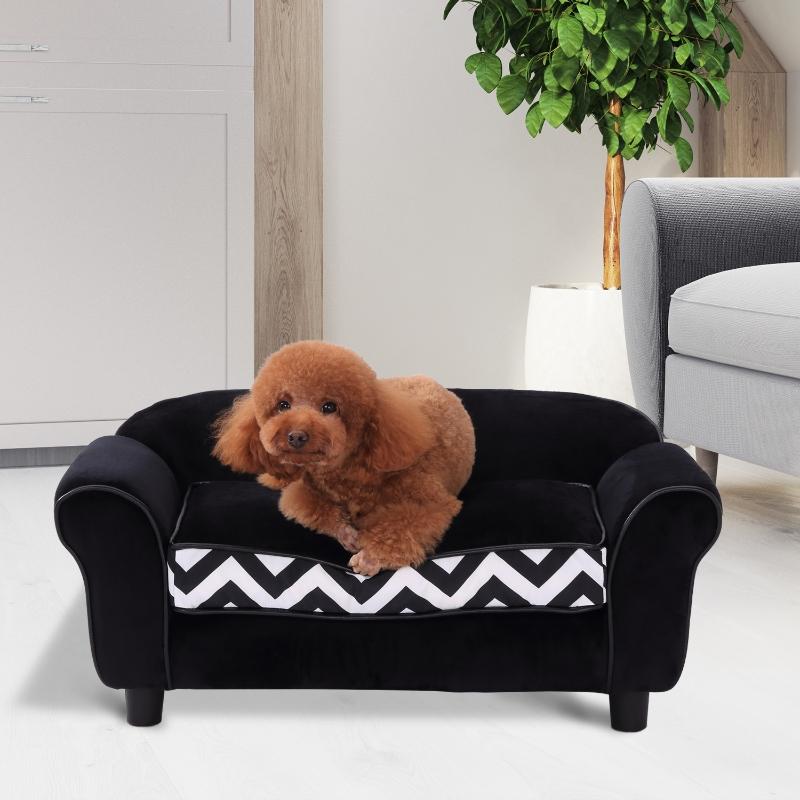 PawHut® Sofa dla Psa Łóżko Legowisko Zwierzęta Domowe Możliwość Prania Podwyższone Nóżki Aksamit Czarny
