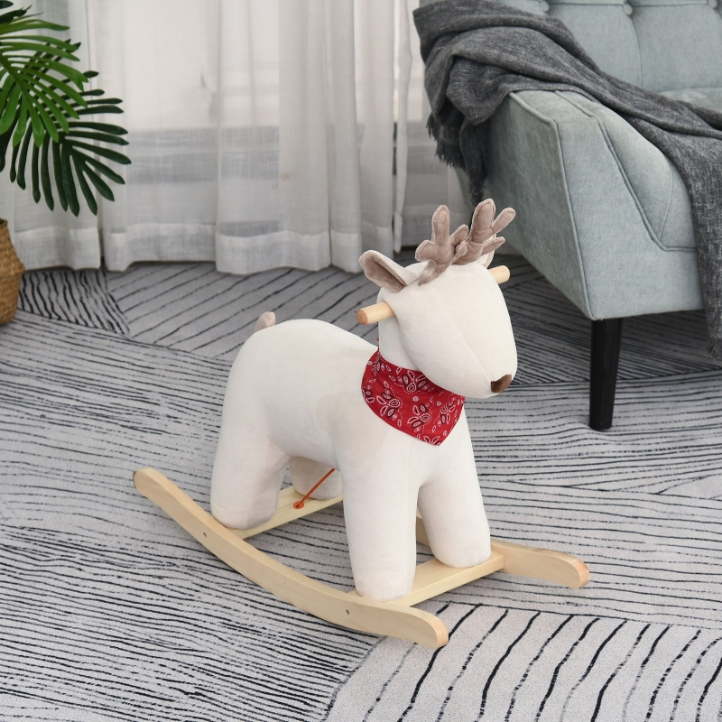 Koń na biegunach dla dzieci zwierzę na biegunach zabawka jeleń dla dzieci w wieku 36-72 miesiące biały