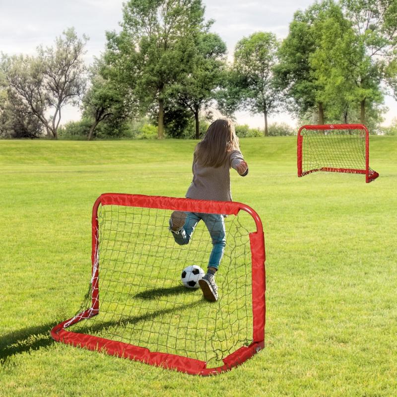 Bramki do piłki nożnej siatka do bramki zestaw 2 minibramek składane stalowe czerwone 90 x 36 x 60 cm