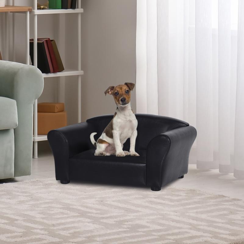 PawHut® Sofa Łóżko dla Psa Legowisko dla Zwierząt Domowych Mata dla Psa Ekoskóra Czarna
