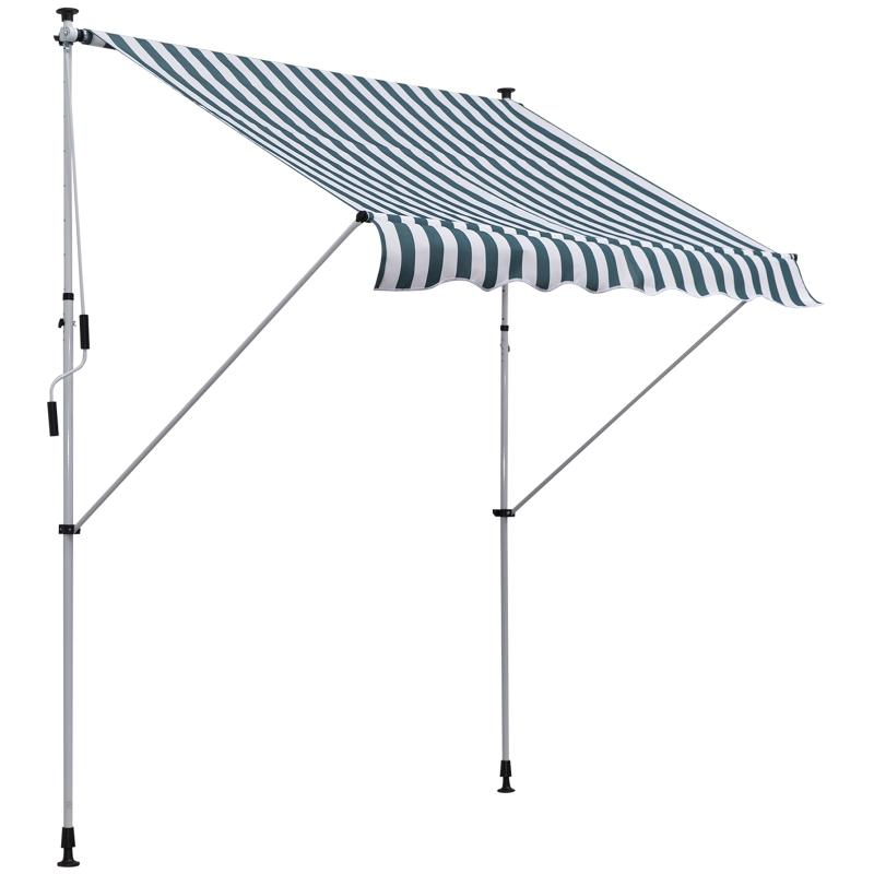 Markiza zaciskowa składana ochrona przeciwsłoneczna korbka ręczna aluminium zielony 2x1,5m Outsunny