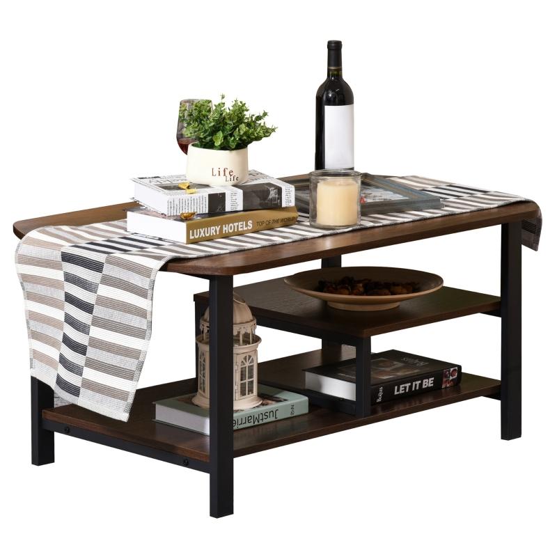 Stolik kawowy z półkami w stylu industrialnym do salonu kolor brązowy