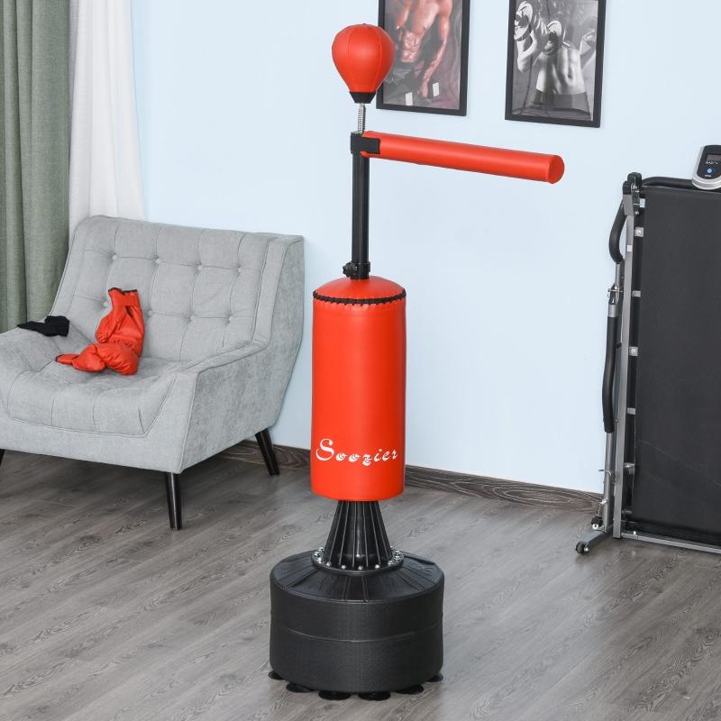 Stojący worek bokserski urządzenie do treningu boksu z akcesoriami trening worek bokserski czarny czerwony