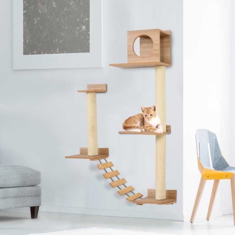 Ścianka wspinaczkowa dla kotów Drapak ścienny do ostrzenia pazurów Drapak dla kotów z drabinką żółty