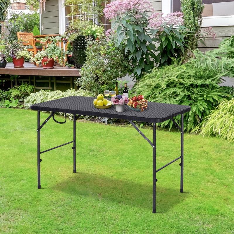 Outsunny® Stół Składany Kempingowy Piknikowy Przenośny Metal Czarny