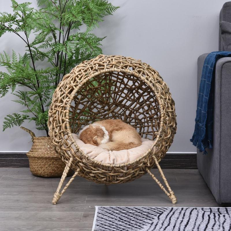 PawHut Domek dla kota z poduszką, miejsce do spania dla kota, jaskinia dla kota z podniesionymi nogami, rattan PCW, kolor naturalny, Ø52 x 58 cm