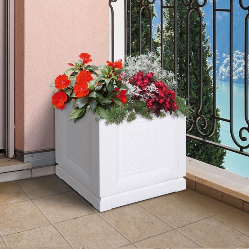 Outsunny® Kwietnik Donica Wysoka Skrzynka na Kwiaty Rośliny 2 Wzory PP 30x30x29 cm