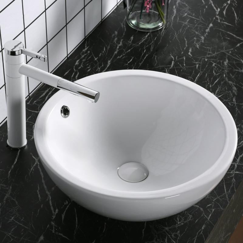 Umywalka Umywalnia Umywalka nablatowa owalna ceramiczna Ø 45 x wys. 18 cm