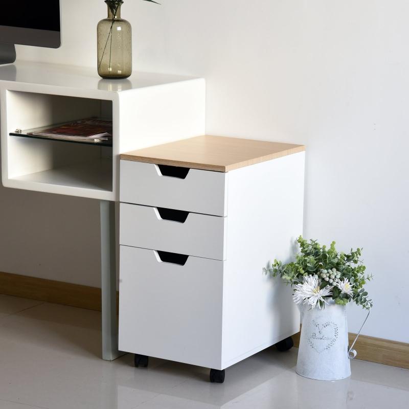 Kontener na kółkach szafka na dokumenty szafa biurowa z 3 szufladami i 4 kółkami kolor biały+naturalny