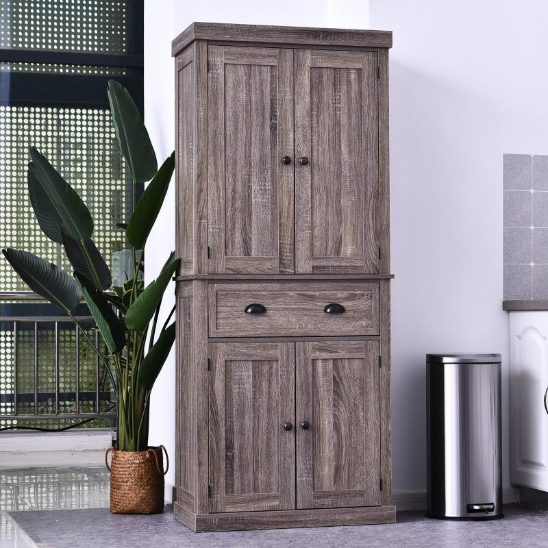 Wysoka szafka łazienkowa szafa kuchenna komoda 4 półki szuflada MDF