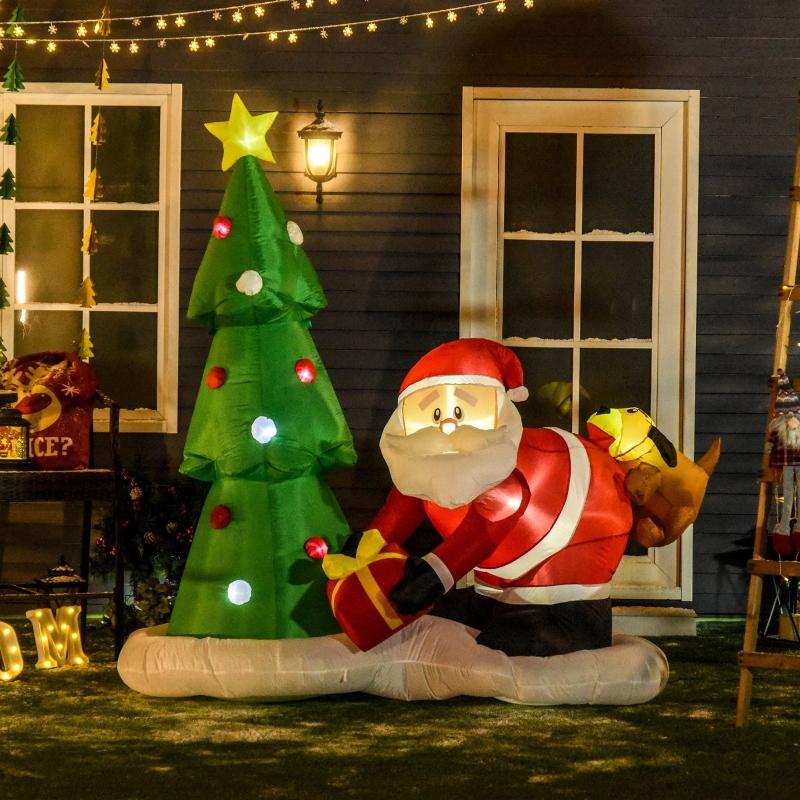 Nadmuchiwany Święty Mikołaj z choinką HOMCOM
